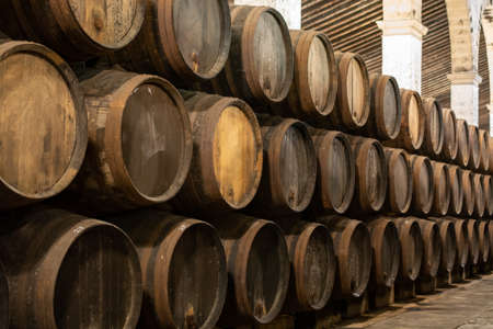 Production of fortified jerez, xeres, sherry wines in old dark oak barrels in sherry triangle, Jerez la Frontera, El Puerto Santa Maria and Sanlucar Barrameda Andalusia, Spain Stock fotó