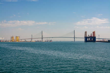 Transportanion in Spain, bridge across Bay of Cadiz, linking Cadiz with Puerto Real in mainland Spain, view from water
