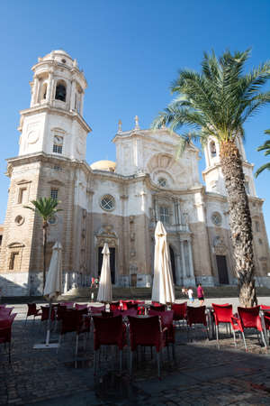 Church in old central part of  ancient town Cadiz, Andalusia, Spain in summer