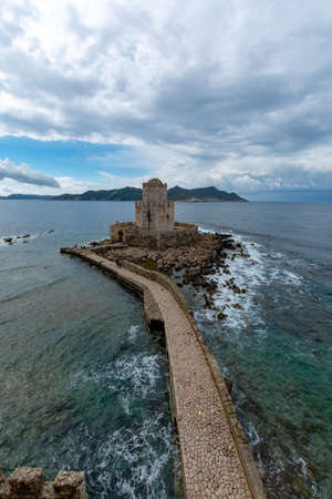 View on old venetian fortress in small greek town Methoni on Peloponnese Éditoriale