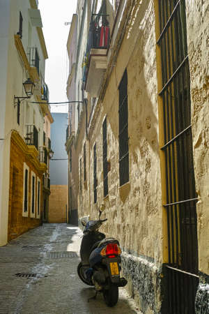 Streets in old central part of  ancient town Cadiz, Andalusia, Spain in summer