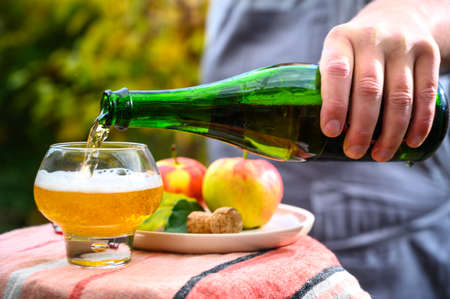Pouring of french apple cider in glass made from new harvest apples outdoor in sunny orchard