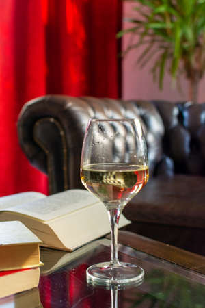 English retro style room with leather chair, open book on table and glas of white wine Stock Photo