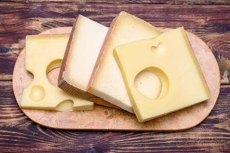 Cheese collection, swiss emmentaler, Gruyere, appenzeller cheeses