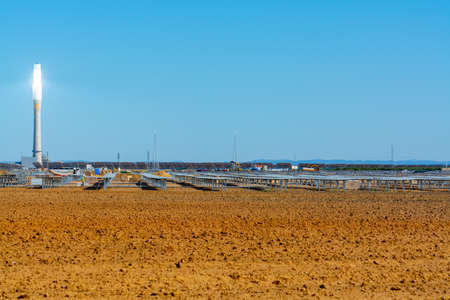 Fuentes de Andalucia in Spain, September 11, 2019, view on high futuristic tower on concentrated solar power plant in Andalusia, Spain