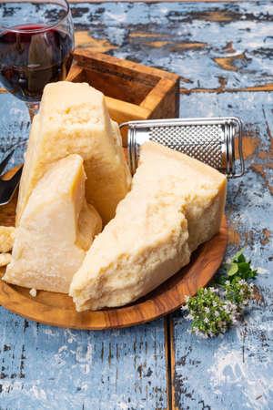 Cheese collection, hard italian cheese, aged parmesan and grana padano cheese  close up Standard-Bild