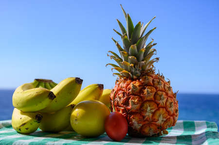 Tropical fruits collection, passion fruit, pineapple, tamarillo, banana exotic fruits on blue sea background close up