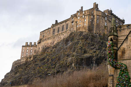 View on Castle hill in old part of Edinburgh city, capital of Scotland, UK, in rainy winter day.