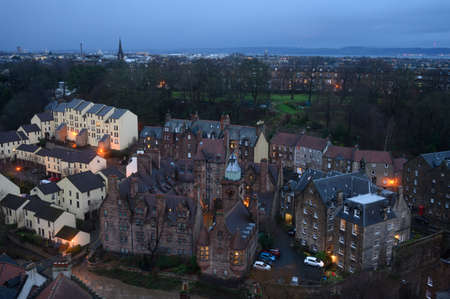 Top panoramic view on Dean village in old part of Edinburgh city in morning hours, capital of Scotland
