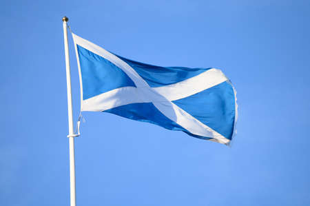 Saltire, national flag of Scotland with sky blue field and background