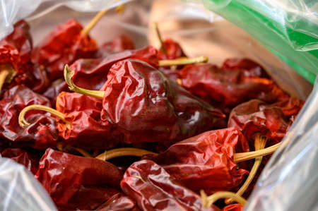 Spanish sun dried pepper on market close up Foto de archivo
