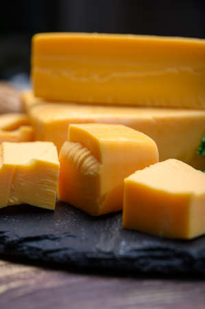 British yellow Chester creme cheese made from cow milk close up