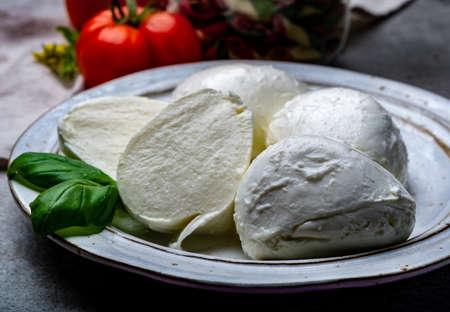 Cheese collection, balls Italian soft white cheese mozzarella with tomato and basil