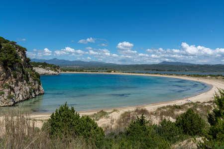 Sandy beaches of Peloponnese, white sand beach Voidokilias near small town Pylos, Greece