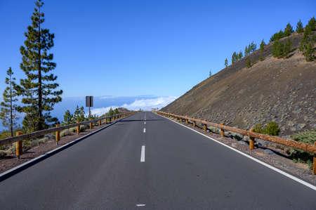 Driving car on volcano Mount Teide and lava fiels on Tenerife island, Canary, Spain Reklamní fotografie