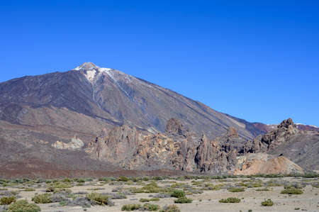 Panoramic view on volcano Mount Teide and lava fiels on Tenerife island, Canary, Spain