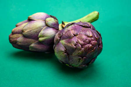 Heads of raw fresh purple romanesco artichoke vegetable ready to cook on green background