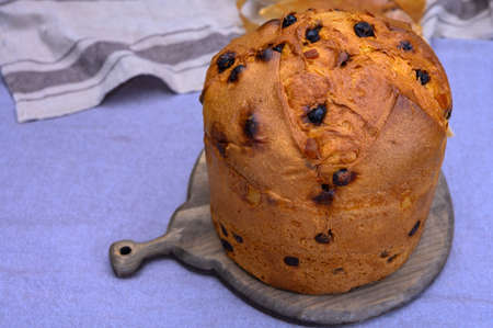Traditional homemade Italian sweed bread for Christmas panettone with raisins and lemon zest from Milan