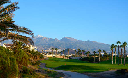 View on evergreen grass field on large golf course and Mount Teide on Tenerife island, Canary, Spain on sunrise