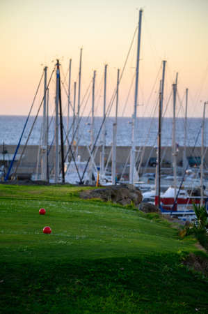 View on evergreen grass field with big red balls on large golf course and yacht club marina on Tenerife island, Canary, Spain on sunrise