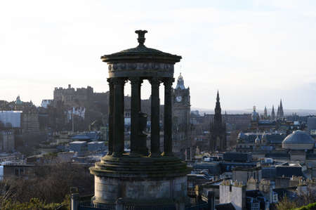 View from top of Calton hill to old part of Edinburgh, capital of Scotland in winter