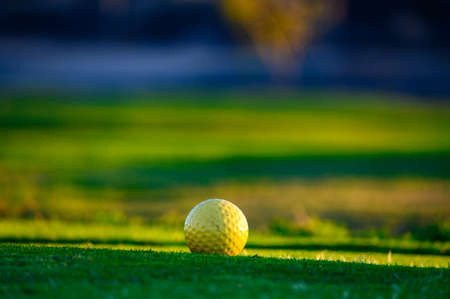 Excellent well-kept green grass lawn on large golf course, green section with big yellow foam ball for beginners on Tenerife island, Canary, Spain close up