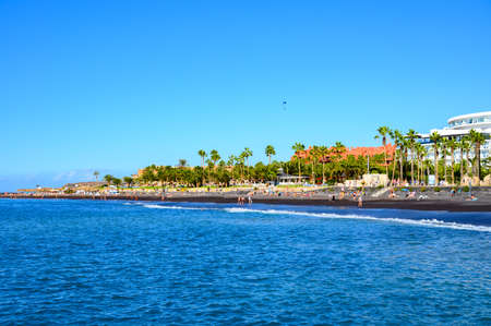 All year sun travel destination in Europe, blue ocean water on beach Playa del Duque in Costa Adeje, Tenerife island, Canary, Spain Stock Photo