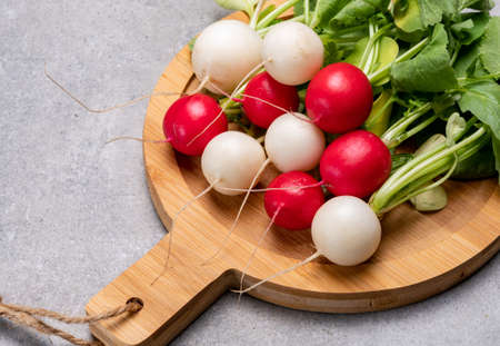 Fresh washed white and red radish vegetables ready to eat close up