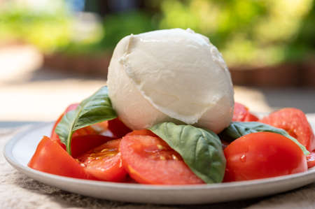 Ingredients for vegetarian caprese salad, ball of buffalo mozzarella cheese, fresh basil, tomatoes. Italian food served outdoor on terrace, close up Imagens
