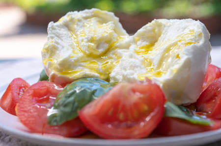 Ingredients for vegetarian caprese salad, buffalo mozzarella cheese, fresh basil, tomatoes, olive oil. Italian food served outdoor on terrace, close up