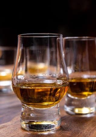 Scotch single malt or blended whisky tasting on distillery in Scotland, UK, close up