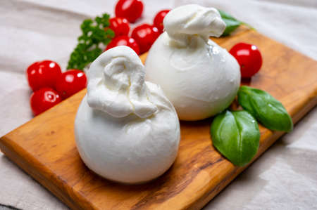 Cheese collection, fresh soft white burrata cheese ball made from mozzarella and cream from Apulia, Italy, close up