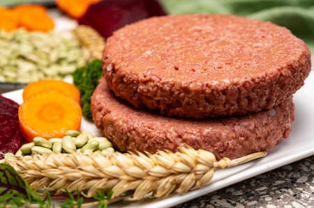 Source of fiber plant based vegan soya protein burgers, meat free healthy food close up