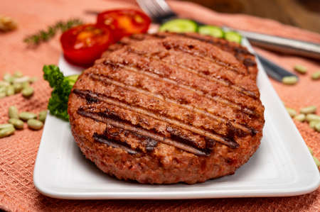 Source of fiber plant based vegan soya protein grilled burgers, meat free healthy food close up