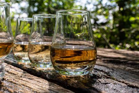 Tasting of different whiskeys on outdoor terrace, dram of whiskey close up Reklamní fotografie