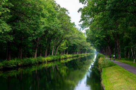 Water canal in Belgium, province of Antwerp near Retie in summer