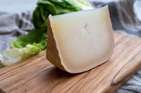 Cheese collection, French sheep cheese ossau iraty from Pyrenees mountains close up 写真素材