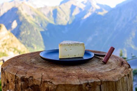 Cheese collection, French tomme de savoie or tome des bauges cheese served outdoor with Alpine mountains peaks in summer on background 写真素材 - 155254171