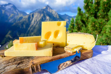 Cheese collection, French beaufort, abondance, emmental, tomme de savoie cheeses served outdoor in Savoy region, with Alpine mountains peaks in summer on background 写真素材 - 155254174