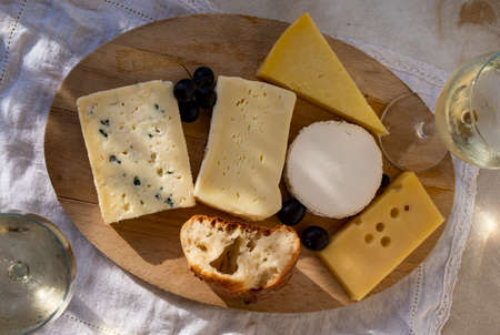 French cheese collection on marble board, emmental, carre de aurillac, petit cantal AOP Jeune, buche chevre and brie 写真素材 - 155254191