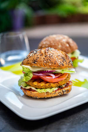 Fresh tasty meat free vegetarian burger made from organic ingredients close up Reklamní fotografie