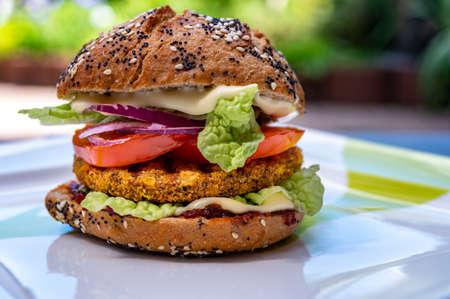 Fresh tasty meat free vegetarian burger made from organic ingredients close up