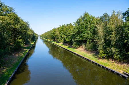 View on Beatrix canal near Eindhoven in sunny day, waterways of North Brabant, Netherlands 写真素材