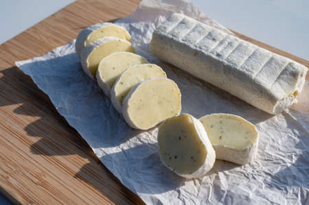 Belgian abbey cheese fagotin in pieces with jam served outdoor in Wallonia, Belgium