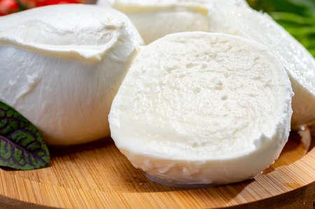 Fresh handmade soft Italian cheese from Campania, white balls of buffalo mozzarella cheese made from cow milk ready to eat close up