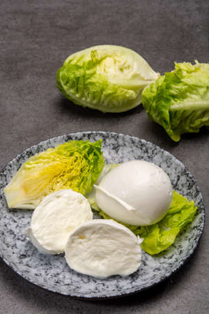 Ð¡heese collection, balls on soft white mozzarella bufala cheese served with green cos lettuce close up
