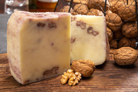Cheese collection, Italian provolone cheese made with walnuts close up 写真素材