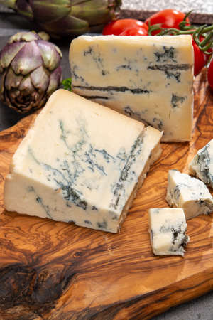Cheese collection, Italian gorgonzola cheese made from unskimmed cow milk in Piedmont and Lombardy close up