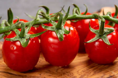 Vine of fresh red ripe sweet cherry tomatoes close up 写真素材