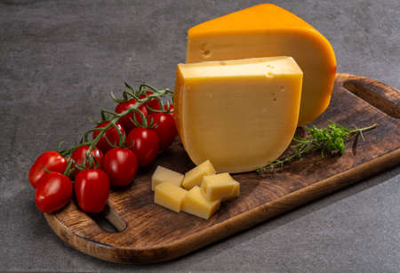 Cheese collection, Dutch ripe hard cheeses made from cow milk in the Netherlands close up